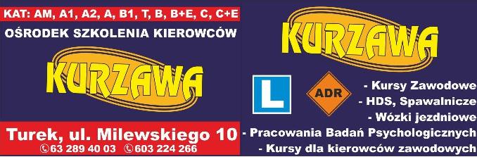 """Logo Ośrodek Szkolenia Kierowców Kursy Zawodowe """"Kurzawa"""" Maria Kurzawa"""