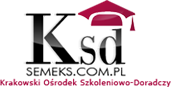 """Logo Krakowski Ośrodek Szkoleniowo-Doradczy """"Semeks"""" Barbara Leśkiewicz-Rzeszutek"""